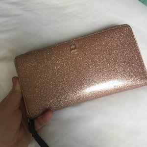 Kate Spade Rose Gold Glitter Zipper Wallet